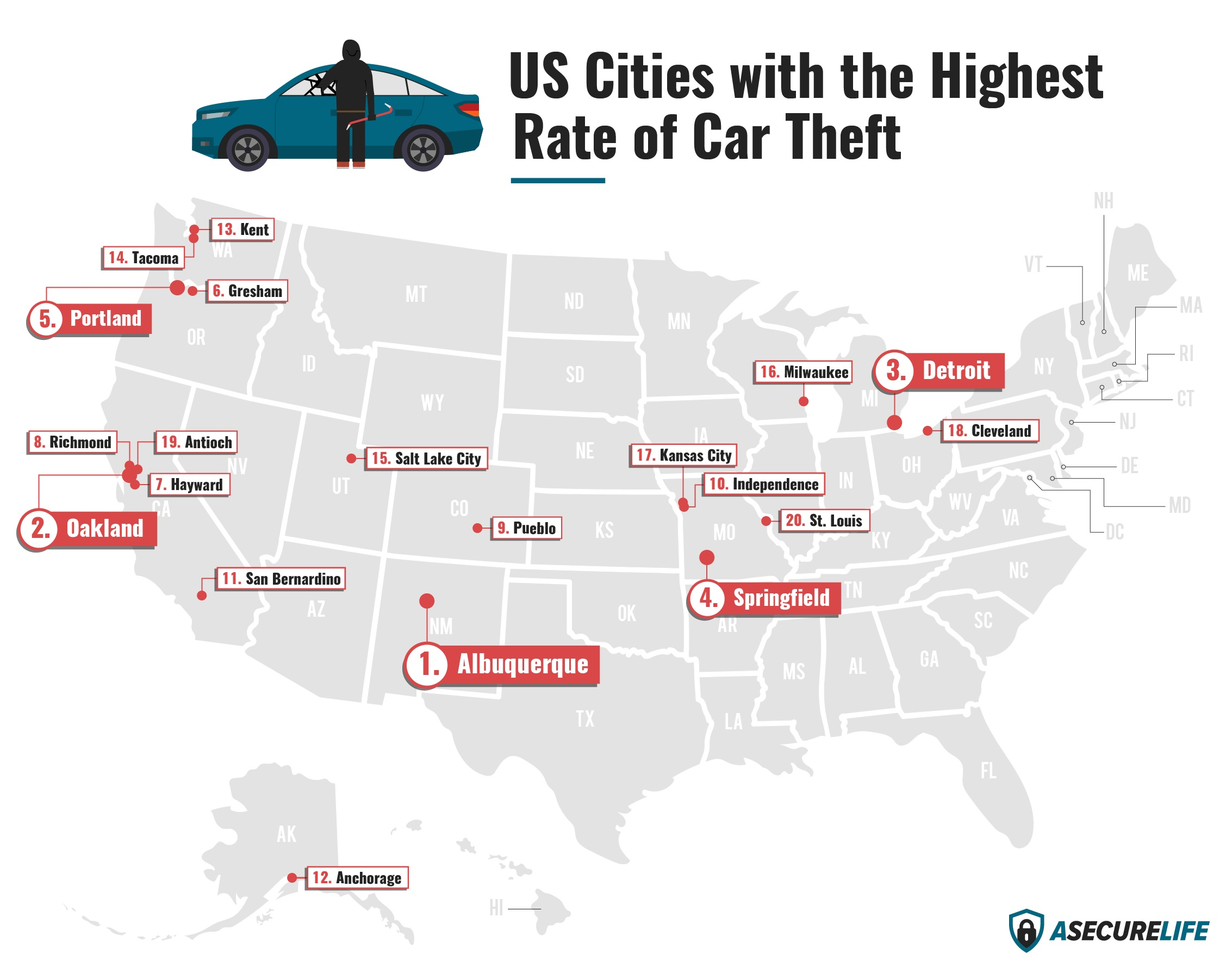 The Top 20 Metro Cities for Car Theft in 2019
