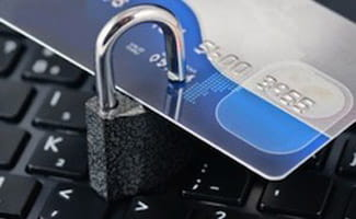 Credit card with lock on keyboard