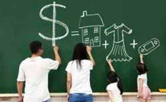 Family drawing on a chalkboard