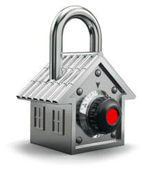A security lock in the shape of a house