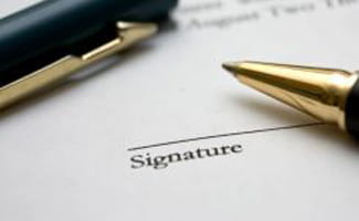 Signature on page