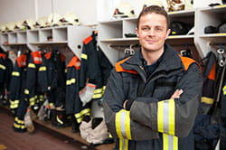 firefighter in fire house