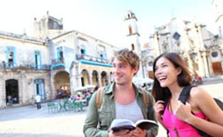 Tourists traveling abroad